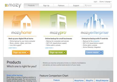 Mozy's product page