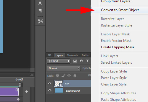 Convert yellow dot layer to a smart object