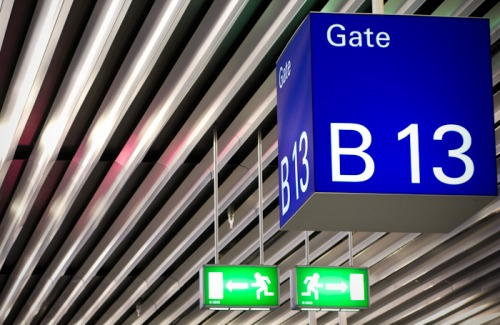 Wayfinding and Typographic Signs - gate-b13