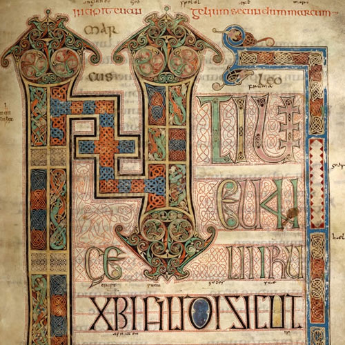 Illuminated (lavishly decorated) lettering in the Lindisfarne Gospels, from the Gospel of Mark.