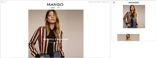 Mango's Responsive Website (Desktop left, Mobile right)