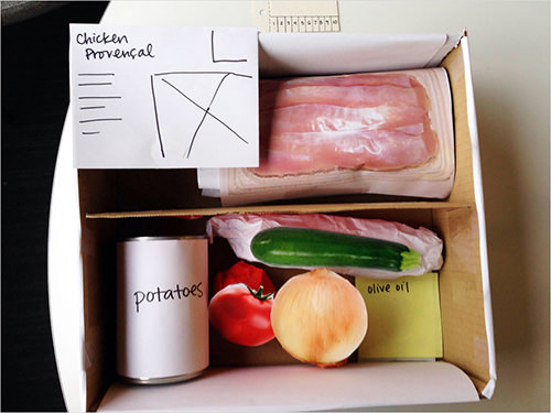 Ashley Costanzo developed this 3D low-fidelity prototype for HealthyMade: fresh ingredients and recipes packaged into a healthy preplanned meal.
