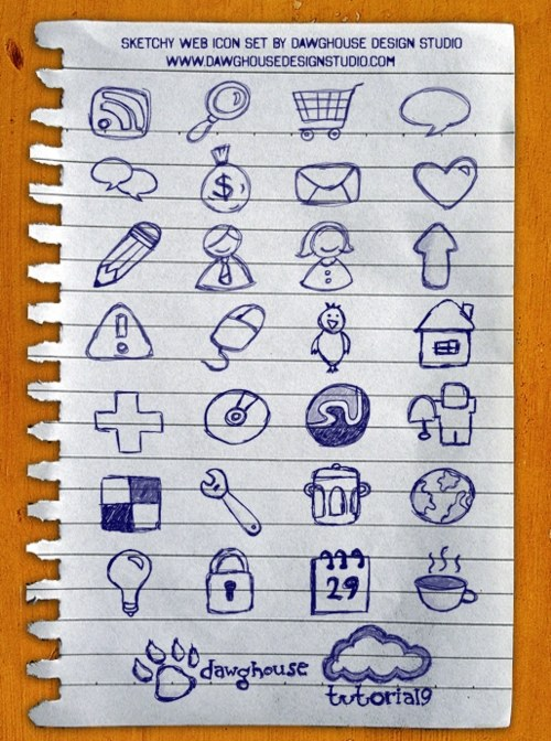 Free High Quality Icon Sets - Sketchy Web Icons: 30 Hand Drawn Icon Pack