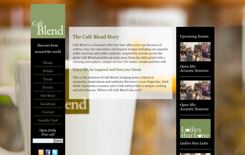 The Cafe Blend desktop site has a vertical navigation menu to the left of the main content, all contained within a balck box.