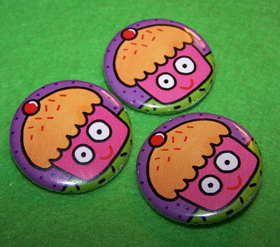 Pins, Badges and Buttons - cupcake buttons