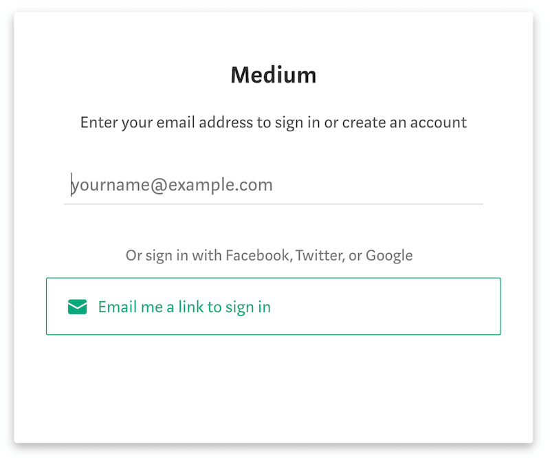 Medium's passwordless sign-in screen.