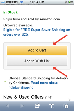 Screenshot of Amazon buttons