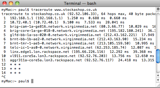 Traceroute on a Mac