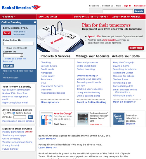 Bank of America Website Screenshots