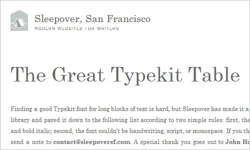 The Great Typekit Table