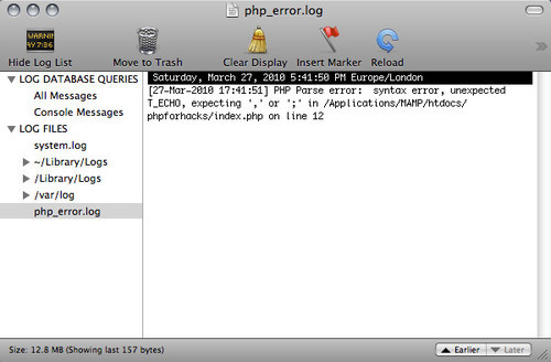 The PHP error log as shown on a Mac