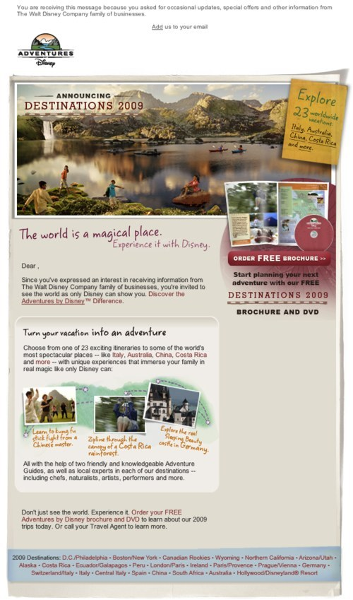 Disney Adventures newsletter