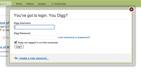 Digg login window