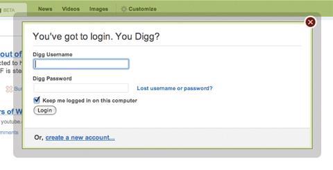 Digg login window