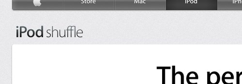 iPod Shuffle ligature on Apple.com