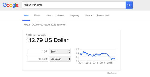 Google's instant currency converter