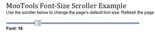 font-size Scroller