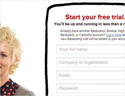 Basecamp's landing page.