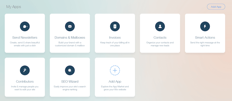 Part of the Wix dashboard