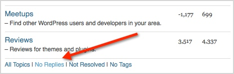 a screenshot of the no replies link at the bottom of the WordPress support forums landing page
