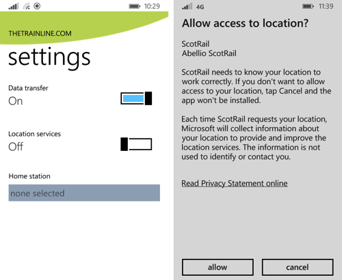 Another example of providing options for location data in user settings.