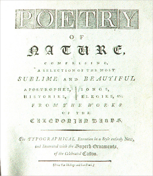 Title page for Poetry of Nature reveals the nature of the book - shown here, a mix of Roman and Blackletter.