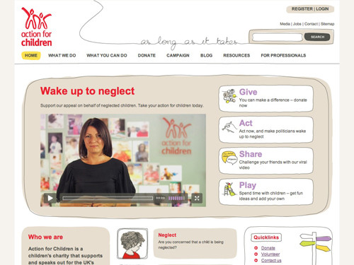 Action for Children website home page