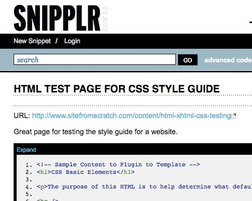 Snipplr CSS Tool