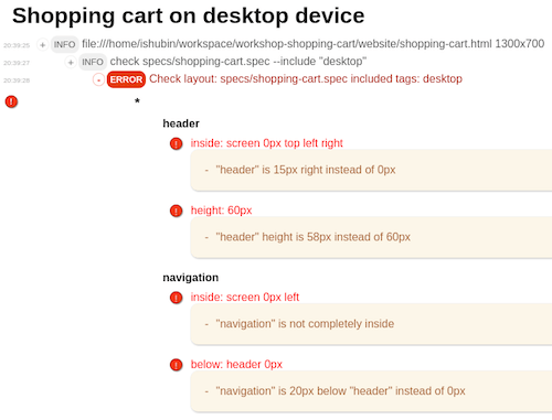 Detailed report of desktop tests