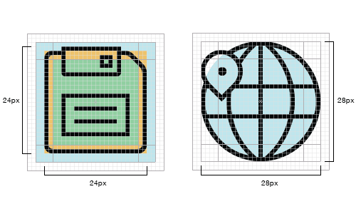 Round and square icons on a grid