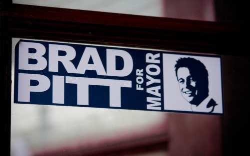 Wayfinding and Typographic Signs - brad-pitt-for-mayor