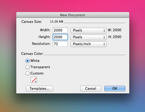 Creating a new document in Fireworks