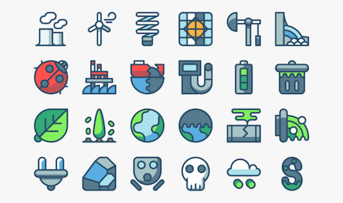 Pollution and Energy Icons