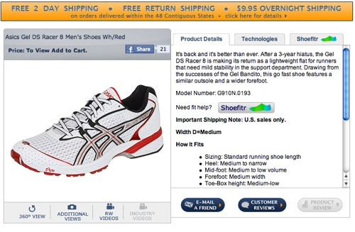 e-commerce product description on Runningwarehouse
