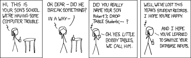 comic showing how SQL injection would delete a database