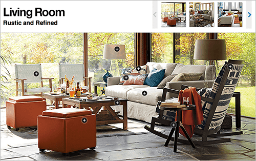 "Another way to solve this challenge is to mark up contextual images with direct links to the products being depicted, as seen above on Crate & Barrel, where clicking the ""+"" icon will open a quick preview of the pinned product."