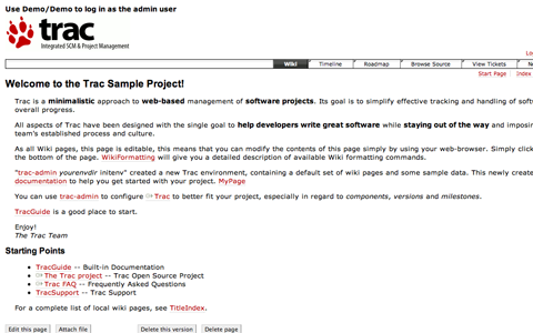 Trac Project Main Wiki Page Screenshot