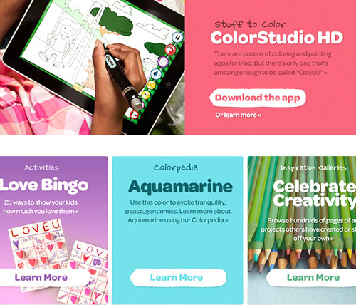 A screengrab of Daniel Mall's work on the Crayola website at Big Spaceship.