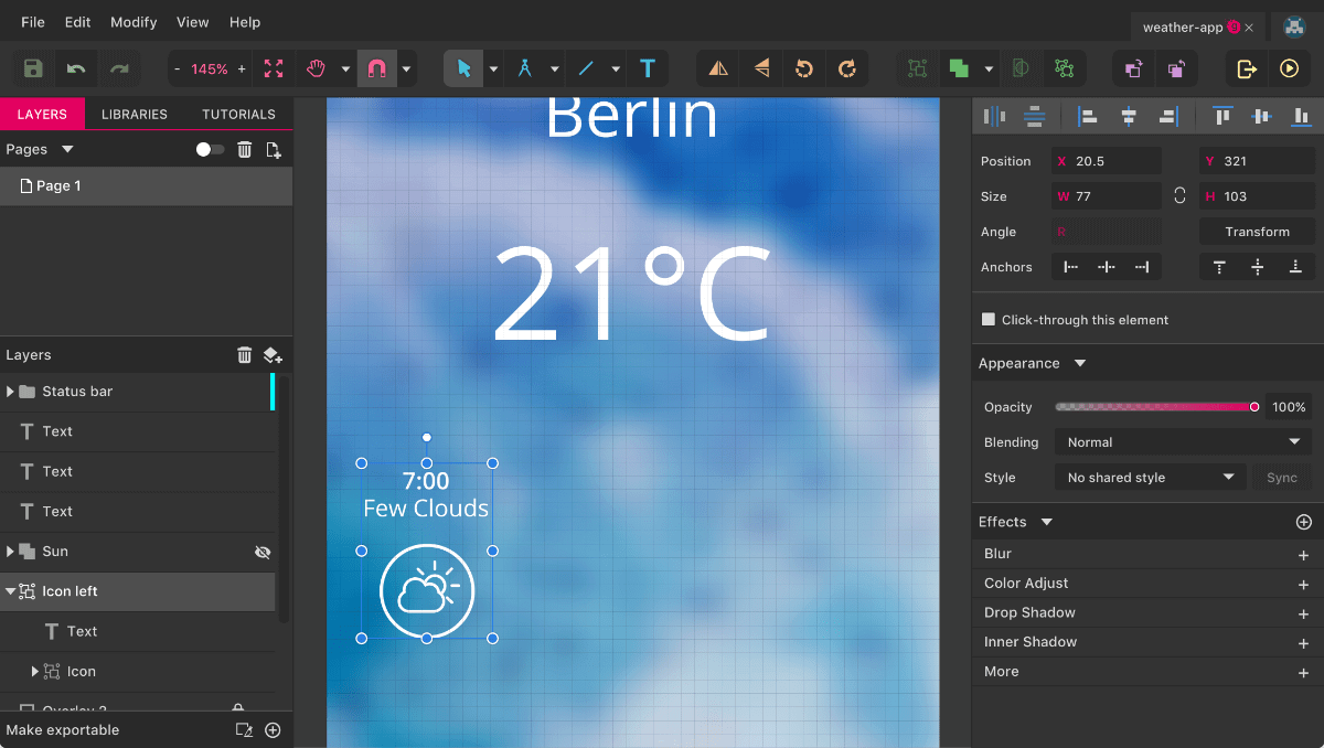 An introduction to gravit designer designing a weather app part figure 6 the first weather condition is ready biocorpaavc Image collections