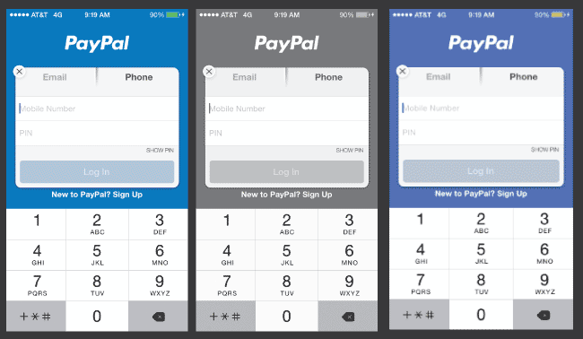 Mobile app form example: normal, grayscale and proof deuteranopia.