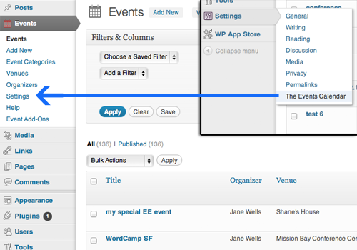 Moved settings to events cpt menu from general WordPress settings menu.
