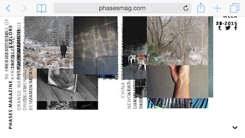 Phases Magazine's layout breaks on smaller screens.