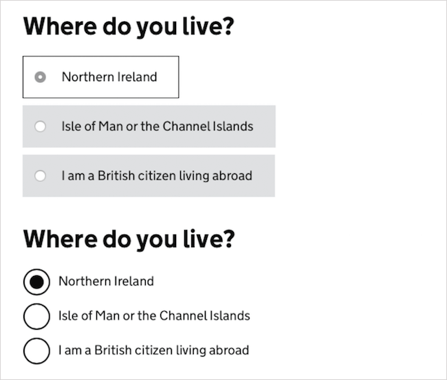 Gov.uk checkboxes before and after