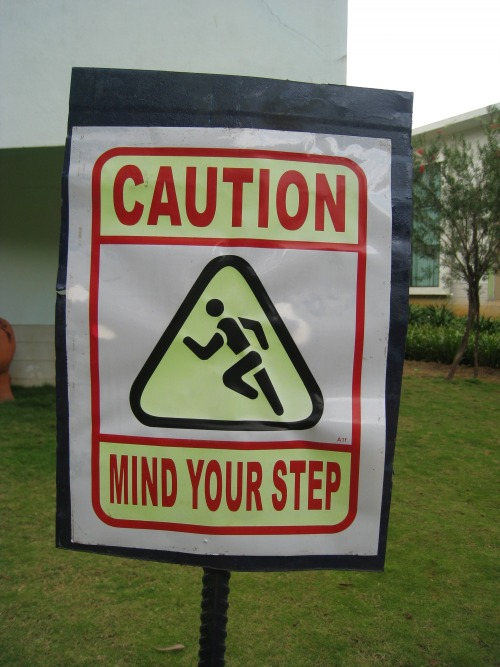 Wayfinding and Typographic Signs - mind-your-step-signage