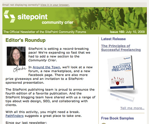 SitePoint Community Crier