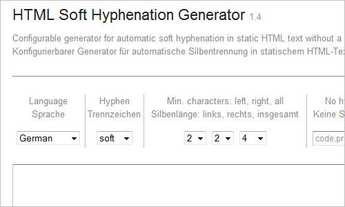 HTML Soft Hyphenation Generator