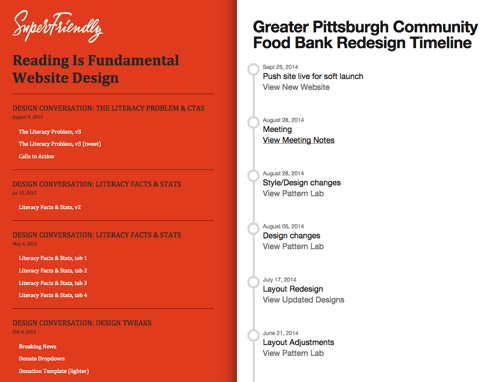 "SuperFriendly's ""Reading Is Fundamental"" and Brad Frost's ""Greater Pittsburgh Community Food Bank"" project hubs."