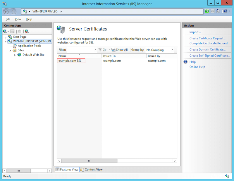 You should see the certificate listed under Server Certificates