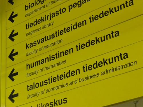Wayfinding and Typographic Signs - oulu-university-signage
