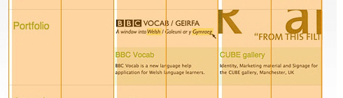 Grid overlay of the BBC website